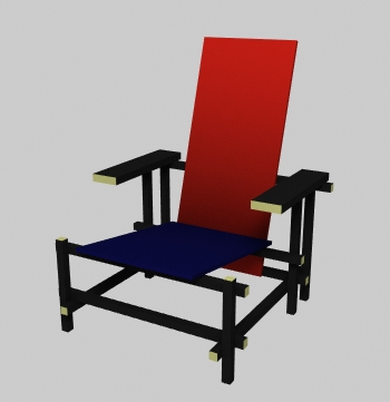 Archibit generation s r l 3d models chairs rietveld for Sedia 1973