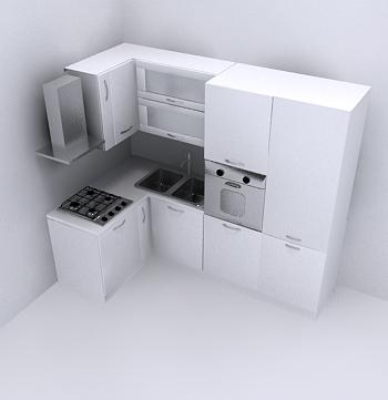 Archibit generation s r l 3d models kitchen l kitchen - Cucina a elle ...